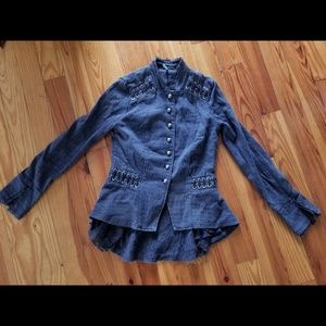 Free People Victorian Lace Up Jacket Navy Blue